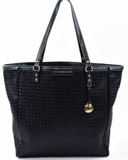 TOMMY HILFIGER Large Fabric Monogram Tote / Shopper Bag, Handbag, Black