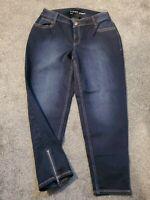 Lane Bryant Genius Fit Cropped Skinny Zipper Cuff Jeans Dark Stretch Size 14