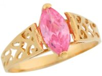 10k or 14k Yellow Gold Pink Marquise CZ Filigree Simulated October Ladies Ring