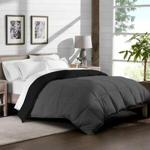 3 PC Reversible Comforter Set 1000 TC Egyptian Cotton US Cal King & Solid Color