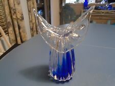 USSR Signed Clear and Cobalt Wing Vase Hand Blown 24% Lead Crystal Signed