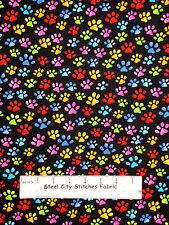 Loralie Harris Cat Dog Paw Print Fabric Cool Cats Pawprint Toss Cotton Yard