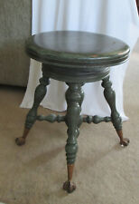 Antique Victorian Piano Stool Claw & Glass Ball Feet
