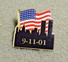9-11-01 American Flag New York Skyline Twin Towers Lapel Pin 9/11 2001 Memorial