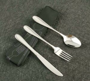 3X Stainless Steel Fork Spoon Chopsticks Travel Camping Tab Cutlery Tools Set#cH