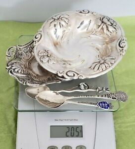 Lot Solid Sterling Silver Antique Pin Tray Bowl 4 Spoons 205 Grams Scrap or Not