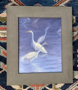 "Jackie Schindehette Florida Egrets Oil on Canvas 8""x10"" Beanie Backus Student"