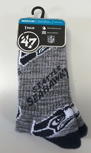 SEATTLE SEAHAWKS Socks 47 Brand Cushioned, Moisture Wicking, Arch Support Size M