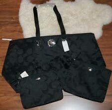 Coach Getaway Signature Large Black Weekender Bag Tote w/2 Cosmetics Bags New