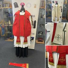 More details for antique reversible ivory/red taffeta fiddleback chasuble,stole & maniple c1810