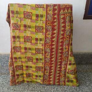 Indian Handmade Floral Kantha Quilt Reversible Bedspread Vintage Cotton Coverlet