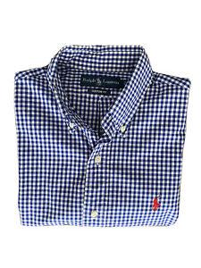 Polo Ralph Lauren Blue Gingham Check Short Sleeve Casual Shirt Size S Custom Fit