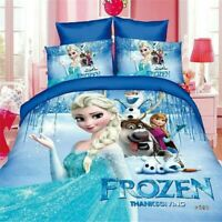 Disney Frozen Anna Elsa 100% Cotton Twin Full Quilt Duvet Cover Bedding Set Blue