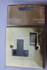 Homebase Cast Edwardian Square Egde Brass 13A Switched 1G Socket black insert