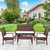 4 PC Rattan Patio Furniture Set Garden Lawn Sofa Cushioned Seat Wicker Sofa