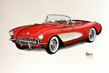 "James E Hopkins signed Ltd/edt. 16x20 lithograph from watercolor, ""57 Corvette"""