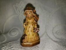 "Anri Sarah Kay Miniature 2"" Woodcarving ""Garden Party"" Lady With Cat And Roses"