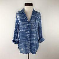 Anthropologie Cloth & Stone Blue Tie Dye Top Shirt  |  Womens Small