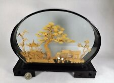 "Large Cork Carving Diarama 11"" x 9"" Beautiful Scene and Carving Glass Lacquer"