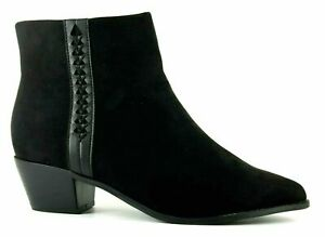 Block Heeled Boots Size 6 Extra Wide Fit Black Ankle Low Heel RRP £47 New Evans