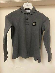 "Boys Age 10"" Genuine Stone Island Junior ,Grey Long Sleeved  Polo.Kids.Mens.£88"