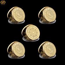 5PCS Mexico Mayan Calender Prophecy Calendar Commemorative Gold Coin Collection