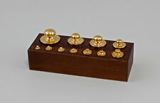 9977435 Brass Weight Weight Set in Wooden Box Antique Style 1-7.1oz