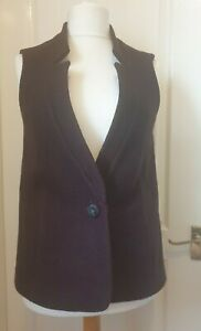 BRORA Size 10 Virgin Wool Waistcoat/Gilet in Berry With Liberty Print Lining