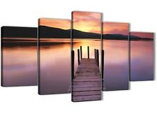 Purple Sunset Jetty Derwent Water Lake - 5 Piece Landscape Canvas 5214 - 160cm
