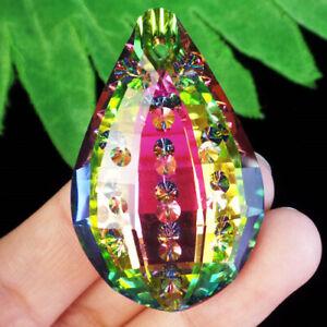 M63478 Faceted Rainbow Titanium Crystal Teardrop Pendant Bead