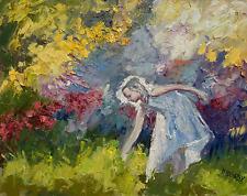 girl picking flowers landscape IMPRESSIONIST OIL PAINTING IDKOWIAK