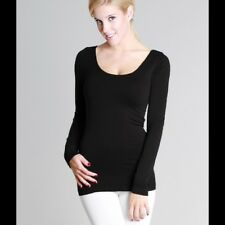 0a8101e1dab74b Nikibiki Black Long Sleeve Scoop Neck Top One Size