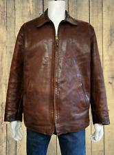 STEWART HEAVY BUFFALO LEATHER Highwayman jacket in Brown, Made in Italy Size XXL