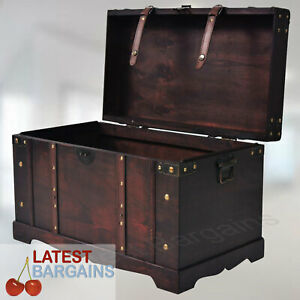Wooden Storage Bench Blanket Box Treasure Chest Trunk Decorative