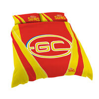 AFL Gold Coast Suns Queen Bed Doona Duvet Quilt Cover Pillow Case Set