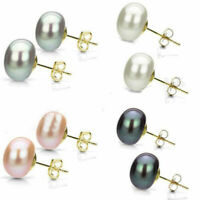 Wholesale 6-13mm Real Natural Akoya Cultured Pearl 14K Gold GP Stud Earrings AAA
