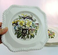 Johnson Brothers Pansy Old Flower Prints 6 Square Salad Luncheon Plates England