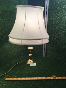 BRASS TABLE LAMP WITH CREAM SHADE