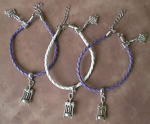 Wine Grapes Cork Screw Charms Purple or White Leather Charm Bracelet Grape New
