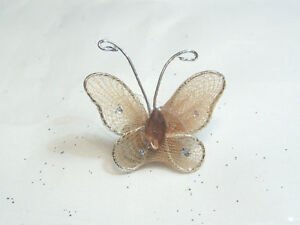 Wholesale pack of 100 Gauze Butterfly Embellishments: GB18 Milk Choc 20mm x 25mm