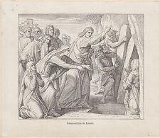 Gravure ancienne religieuse XIXème  résurrection de Lazare