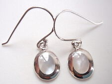 Small Mother of Pearl Oval in Silver Border 925 Sterling Silver Dangle Earrings