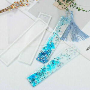 DIY Rectangle Silicone Bookmark Mold Making Epoxy Resin Jewelry Craft Mould 2PCS