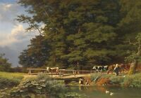 Oil painting Bringing the cattle home cows in landscape with wooden bridge river