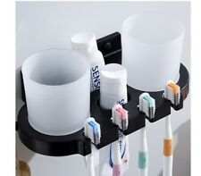 Black Toothbrush Holder Cup Tumbler Wall Mounted Bathroom Shelves with Hook
