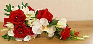 Bouquet de fleurs artificielle Mariage rouge blanc