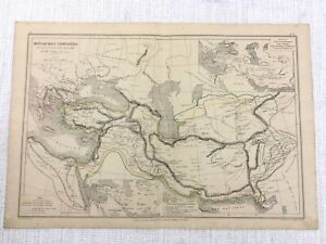1877 Antique Map of Ancient Empires Persian Cyrus Darius Alexander The Great