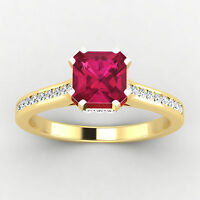 Cushion Cut 0.65 Ct Real SI1 Certified Diamond Natural Ruby Ring 14K Yellow Gold