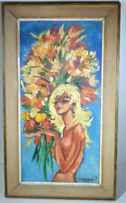 "Vintage 19"" Oil Painting Canvas Nude Woman Elf Fairy Spring Flowers Bouquet"