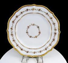 """ELITE LIMOGES J McD&S GOLD FLORAL BEADED SCALLOPED 8.5"""" CABINET PLATE 1890-1914"""